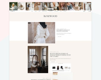 Rosewood - Responsive WordPress theme, premade homepage post layouts, compatible with WooCommerce, homepage about widget.