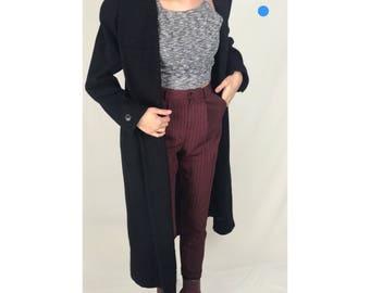 Black Pure Wool Overcoat