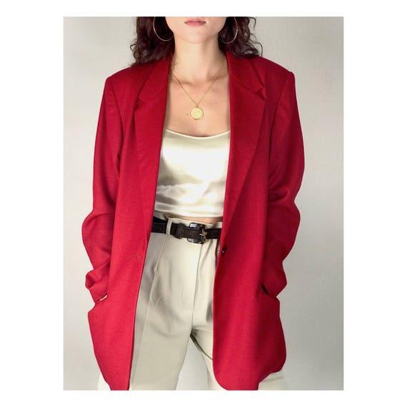 Red Oversized Wool Blazer. Fits XS/L