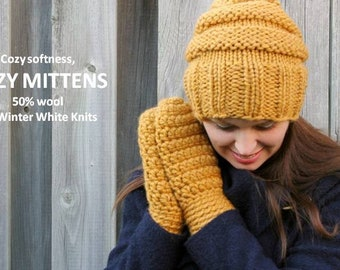 Cozy mittens, mustard yellow knit mittens, handmade mittens, winter mittens, 32 colors available, women's mittens, mitts, chunky mittens
