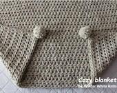 Chunky crochet blanket, pom pom throw, knit blanket, crochet afghan, wedding gift blanket, 20 colors, chunky knit blanket, cozy lap blanket