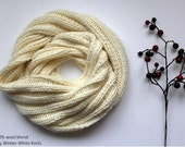 Knit infinity scarf, winter scarf, cream white knit scarf, winter cozy infinity scarf, hand-knit scarf in a soft wool blend, cozy soft scarf