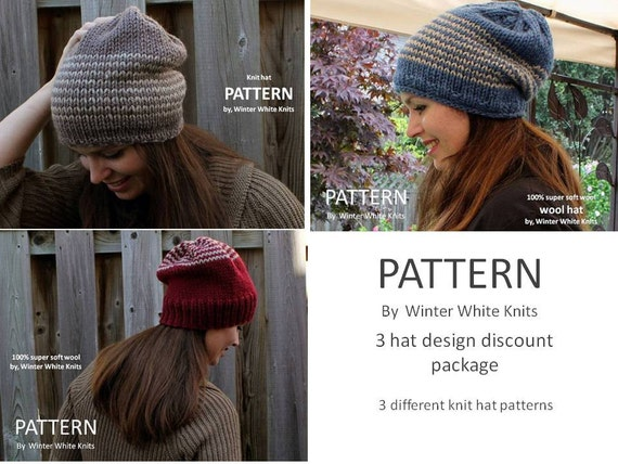 Knit Hat Patterns 3 Pattern Bundle Discount Pdf Instant Etsy