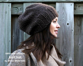 Knit beanie hat, Brown knit hat, Knitted hat in 100% soft wool, winter knitted hat, handknit slouch hat, slouchy tam hat, soft and cozy