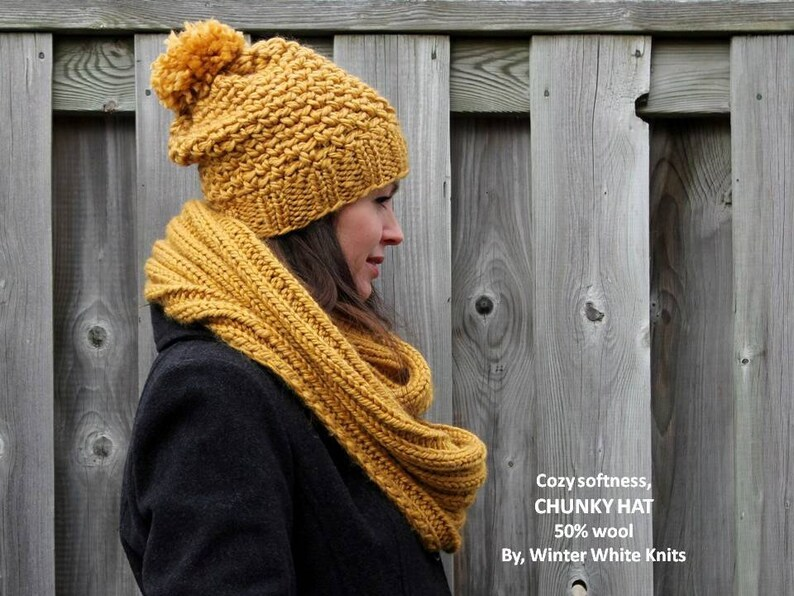 25c297b46e4 KNIT WINTER HAT pom pom beanie hat winter knit hat mustard