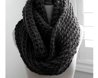 Chunky knit scarf dark grey, Chunky infinity scarf, Cozy soft scarf, 22 colors available, winter scarf, Charcoal grey scarf, warm and cozy