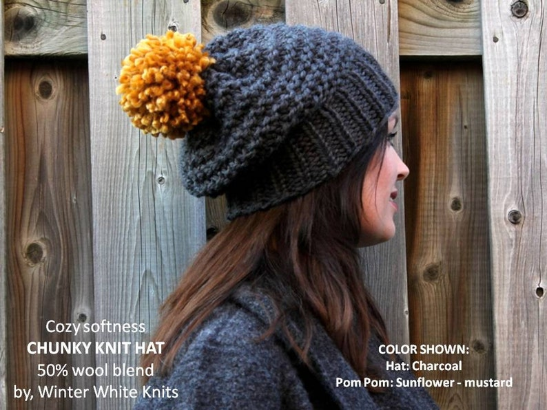 0dba4708068769 Chunky knit hat COZY WOODS HAT pom pom knit hat Knit winter   Etsy