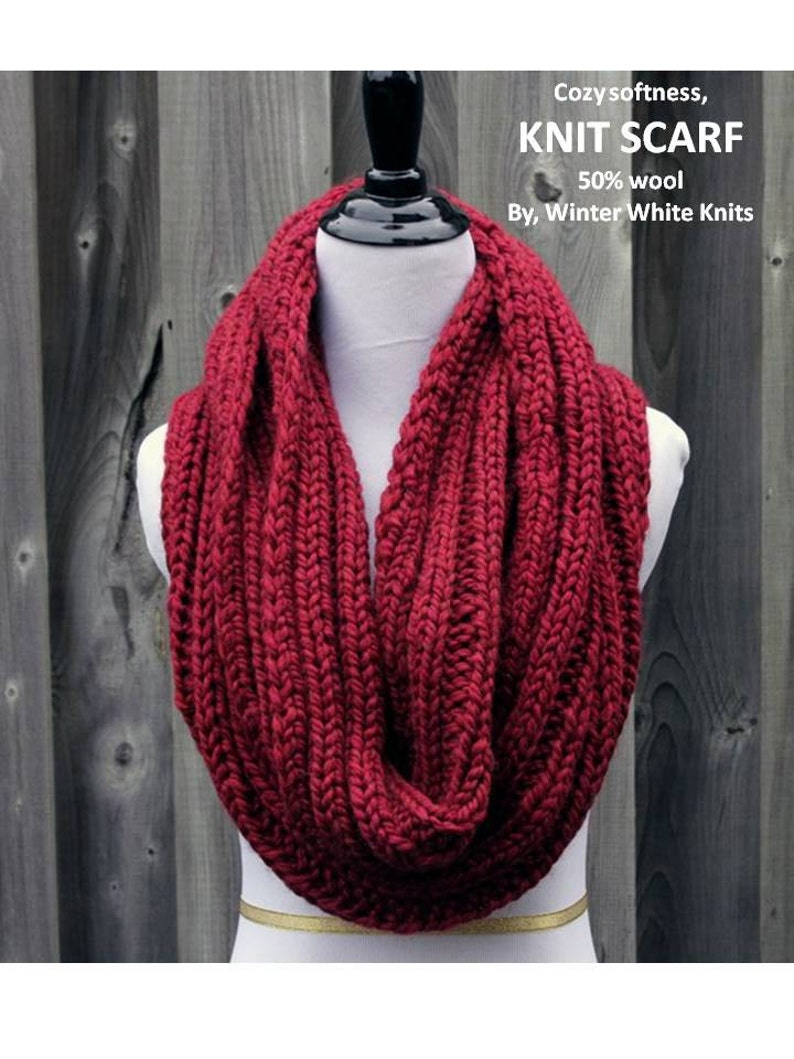 2856ead26a27e Knit scarf Knit infinity scarf Chunky knit scarf Red winter | Etsy