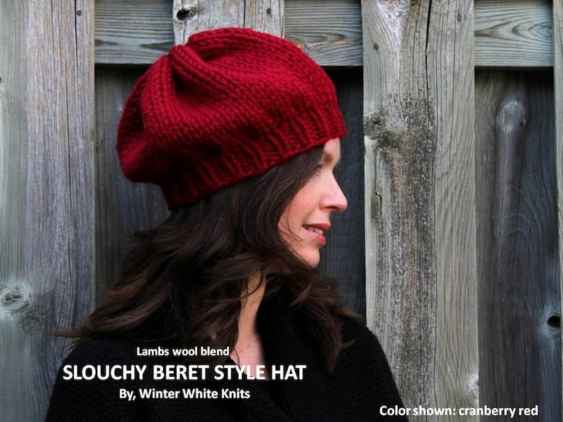 Slouchy Knit Beret hat Winter Slouchy Hat knit Beanie Knit  36ccd5f1af4