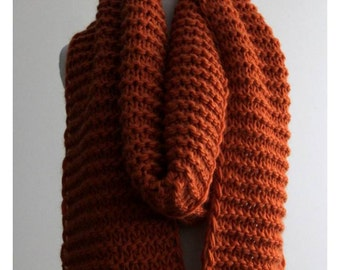 Long knit scarf, wool scarf, soft knit winter scarf, 100% soft wool, Orange knit scarf, wool knit scarf, soft and cozy, Winter scarf
