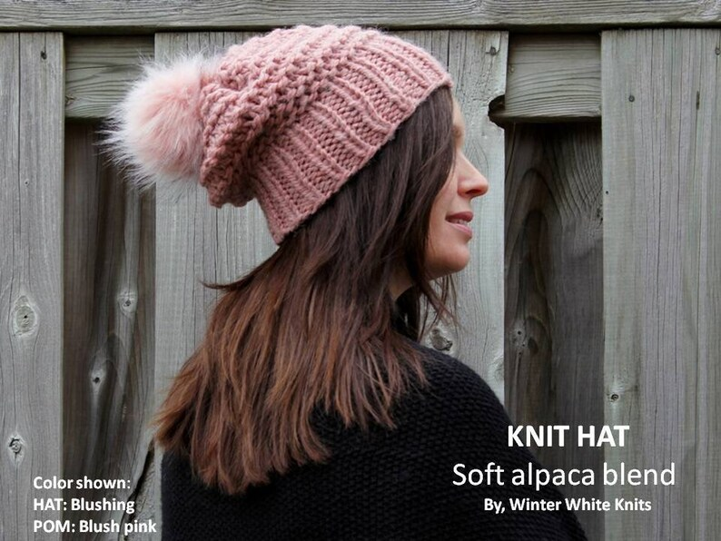 59d7f569419d0 Knit hat with faux fur pom pom Alpaca blend knitted hat
