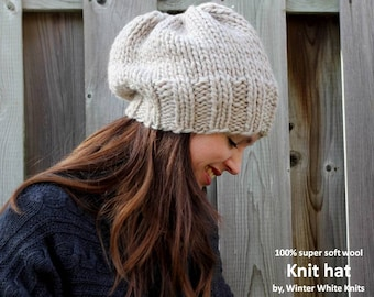 WOOL KNIT HAT, Knit beanie hat, Knitted hat in 100% soft wool, winter knitted hat, hand-knit hat, slouch hat, slouchy tam hat, soft and cozy