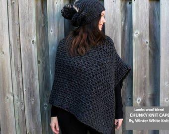 KNIT PONCHO, Chunky Cape, Knit cape, Cozy Knit wrap, Winter Cape Coat, Wrap sweater, Winter coat, wool cape, soft cape, Poncho Cape Winter