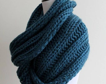 Chunky knit scarf, knit infinity scarf, teal blue knit scarf,  hand kniit scarf, soft and cozy, 50% super soft wool, available in 16 colors