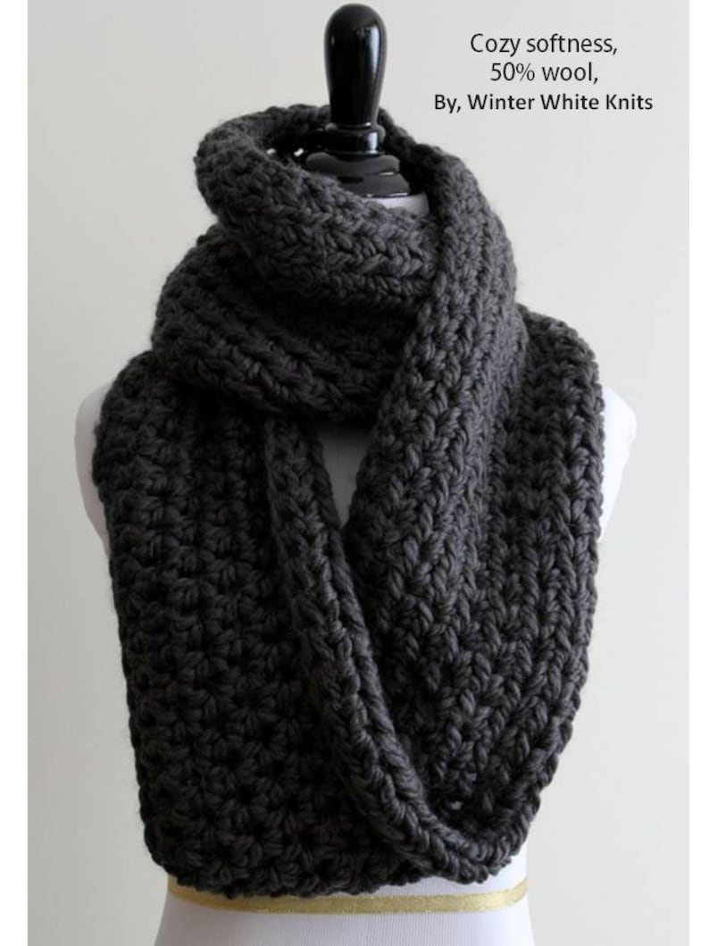 1a21982ac42 Infinity Scarf, Chunky Knit scarf, winter scarf, Cozy soft scarf, 22 colors  available, unisex scarf, Charcoal grey scarf, warm cozy scarf
