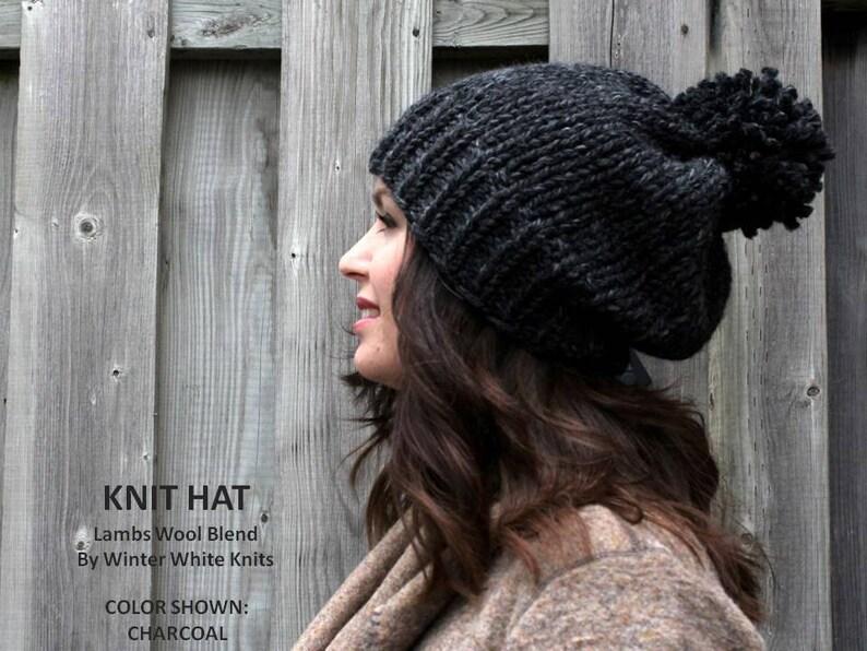 6987edb56e5 Pom pom knit hat beanie hat Knit Pom Pom hat Toque Slouchy