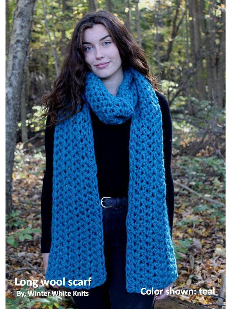 04520182587e1 Teal wool scarf chunky knit scarf wool scarf long scarf | Etsy