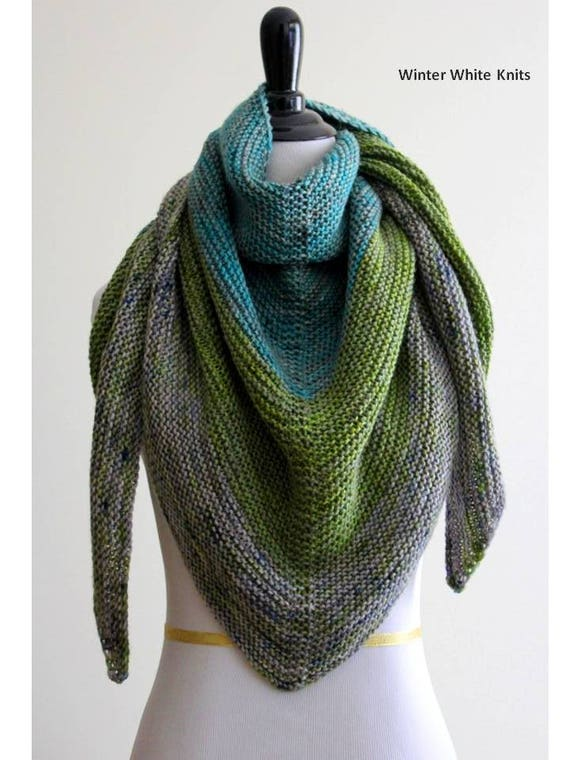Knitting Pattern Shawl Triangle Scarf Pattern Pdf Instant Etsy