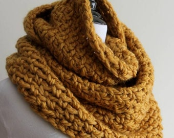 Chunky knit scarf, winter infinity scarf, mustard knit scarf, knit winter scarf, chunky knit cowl, soft and cozy scarf