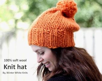 WOOL KNIT HAT, Knit pom pom hat, beanie hat with pom pom, 100% soft wool hat, orange knit hat, knitted hat, winter slouchy hat, soft & cozy