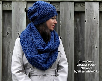 CHUNKY INFINITY SCARF, hand knit scarf, royal blue knit scarf, available in 22 colors, so soft and cozy, chunky scarf, winter scarf, cowl