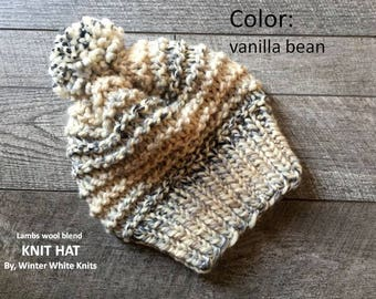 Knit hat, winter hat, chunky knit hat, beanie hat, slouchy knit hat, vanilla bean knit hat, pom pom hat