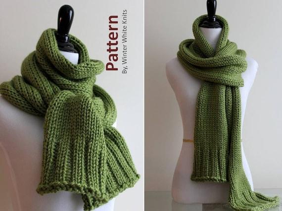 Knitting Pattern Long Knit Scarf Pdf Instant Download Etsy
