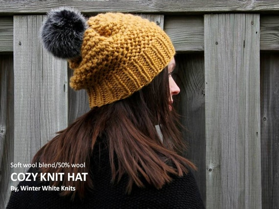 611e93439b1 Knit hat with faux fur pom pom Chunky knit hat winter hat
