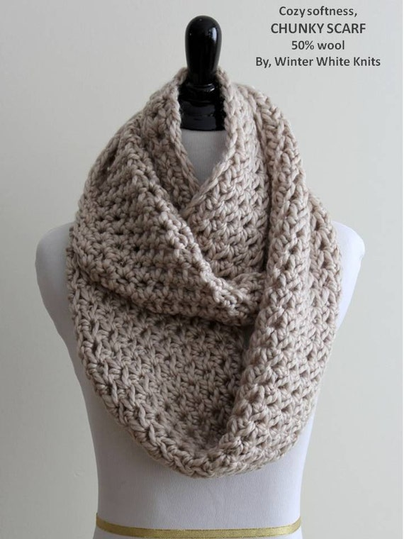 Chunky Infinity Scarf Knit Scarf In Natural Beige Circle Scarf Chunky Winter Scarf Wool Scarf Cozy Soft Scarf Unisex Winter Scarf