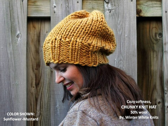 2414cecf81e Chunky knit hat Slouchy knit hat Hand-knit hat Knitted