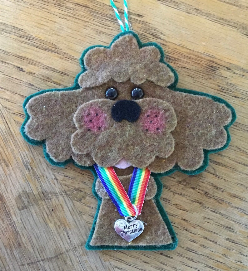 Apricot poodle dog Christmas ornament with rainbow ribbon dog urn tag