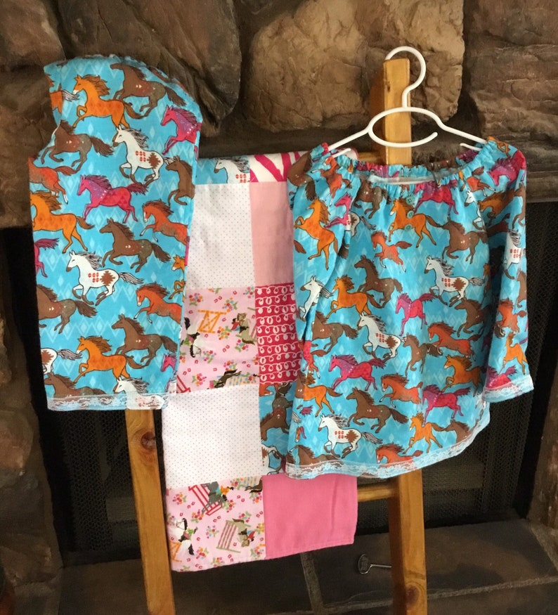 Three piece size 2 pajama gown and quilt set