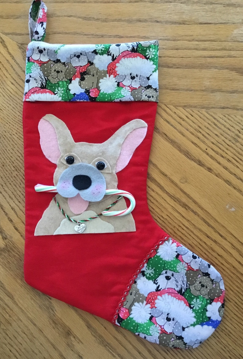 French Bulldog Christmas Stocking.Fawn Colored French Bulldog Christmas Stocking