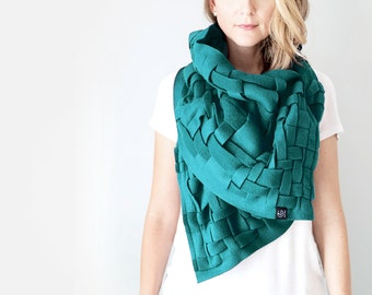 Wraps Shawls Oversized Scarf Handwoven Wrap Unique Handmade Scarves Infinity Scarf Winter Scarf Blanket Scarf Womens Scarves: Teal