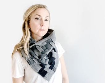 Winter Scarf, unique scarf, chunky cowl, winter fashion scarf, fall accessories women scarves, grey scarf, fleece circle scarf, sending love