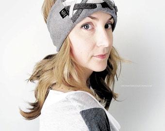 Headband, Grey Women's Fleece Woven Turban Hair Band Hair Wrap, Head Wrap with Boho Turban for Women and Girls in Steel