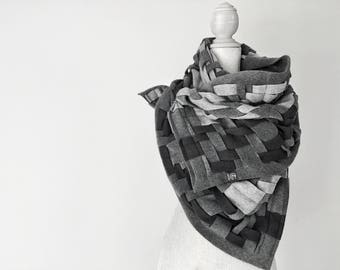 Wraps Shawls Oversized Grey Scarf Handwoven Wrap Unique Handmade Scarves Infinity Scarf Winter Scarf Blanket Scarf Womens Scarves: