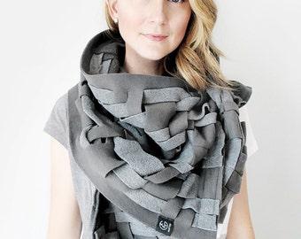 Grey Scarf Wraps Shawls Unique Handmade Scarves Blanket Scarf Handwoven Oversize Scarf Weaving Fashion Scarves Womens Scarves Warm Shawl