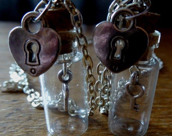 Key and lock in a bottle necklace
