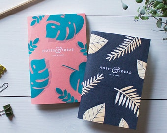 Pair of Blank Exotic Plant Pocket Notebooks