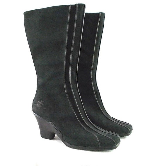 Timberland Uptown US Women's Size 10 Medium Solid Black Suede Mid Calf Full Side Zip Winter Boots
