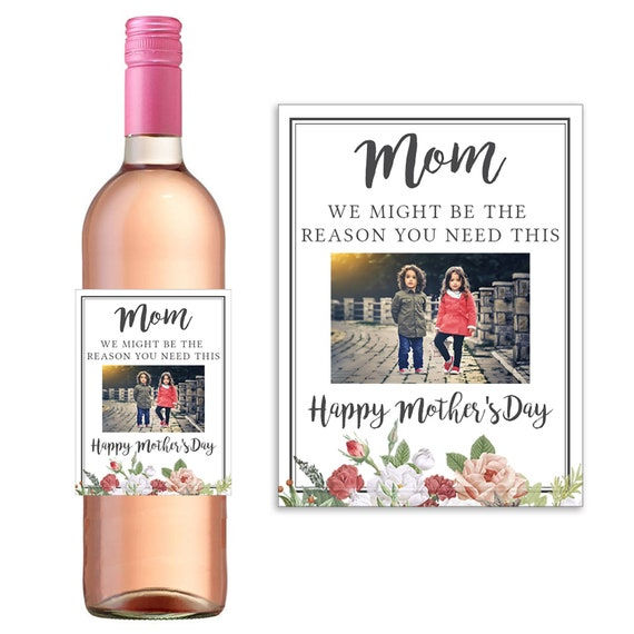 5a97f160a5b Mother's day gift from Child, Gift from Kids, We might be the reason you  drink, Funny Mother's Day gift, Floral, WIne Label, mom wine gift