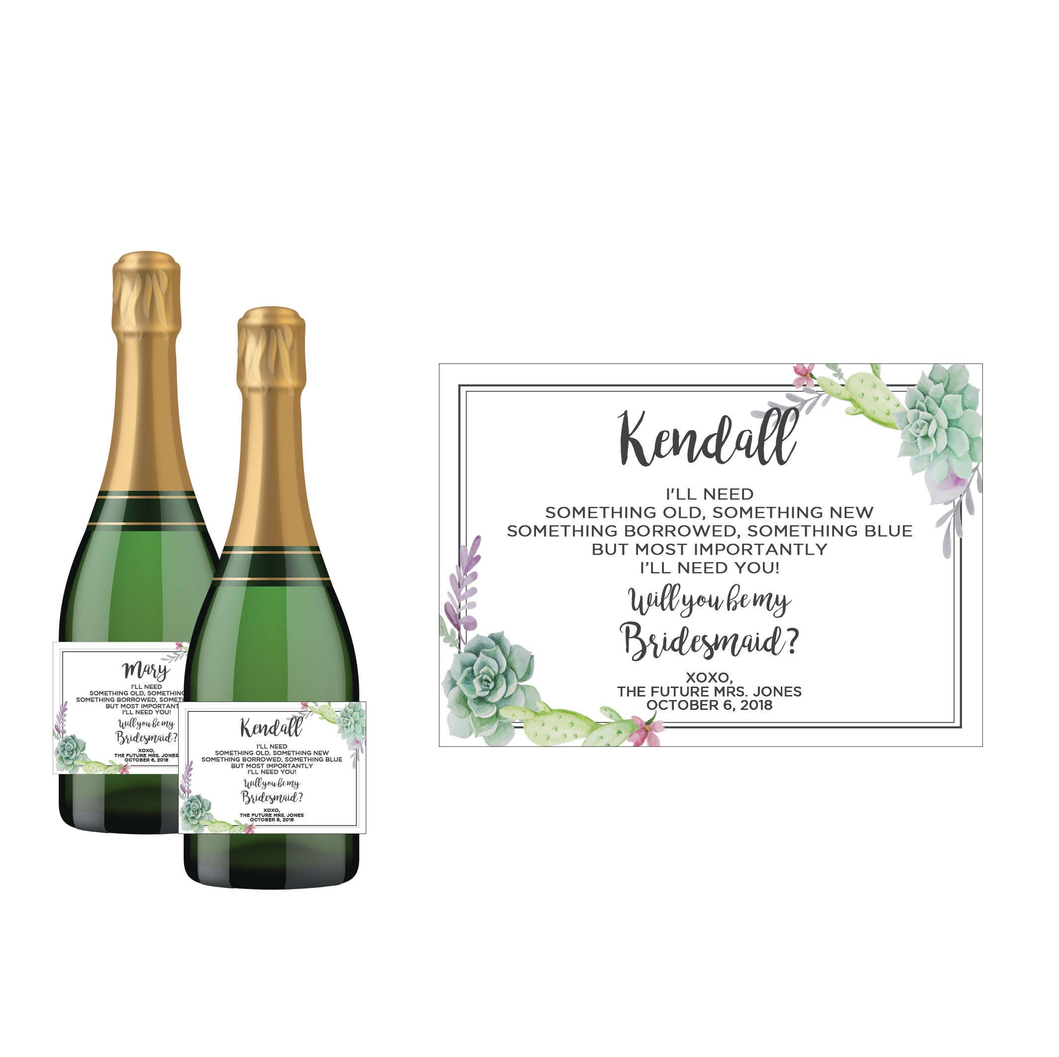 Will you be my Bridesmaid Mini Champagne Bottle Invitation