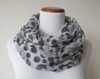 Classic Black and White Dot & Flower Infinity Scarf