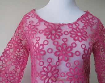 Organza Lace Tunic with Embroidered Flowers One Size Plum Red Color