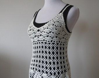 Chic Floral Crochet Lace Vest One Size