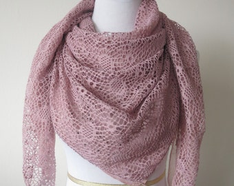 Triangle Lace Scarves with Chiffon Layer Light Purple Color