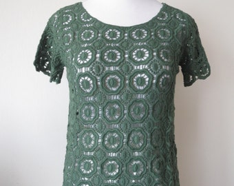 Chic Floral Crochet Lace Blouse One Size Dark Green Color
