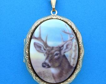 Silver Teardrop Necklace Deer Hunter Buck Rack and Rifles