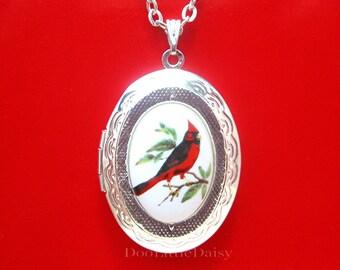 Pendant  Enameled Red Bird Pendant Silver Tone Necklace Item CB 100132A